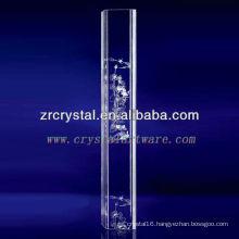 K9 3D Laser Lotus Etched Crystal with Pillar Shape