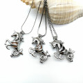 Alloy Aries Pearl Bead Cage Pendant Necklace