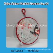 Trivet de cerámica de diseño moderno con pintura de mariposa para la venta al por mayor