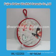 Trivet cerâmica de design moderno com pintura de borboleta para atacado