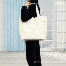 China Factory Eco Friendly Solid Canvas Shopping Bag Cotton Tote Bag For Women Traveling Beach