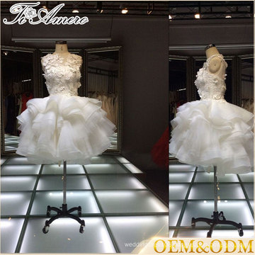 2017 famous brand Tiamero grown up white flower bubble bridesmaid mini dress