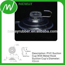 Conveniente 45mm Metal gancho de succión Copa de PVC