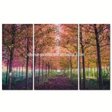 Триптих Кленовое дерево Холст стены искусства для гостиной / Лаванда лесной холст Печать / Осенний пейзаж Wall Picture