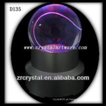 K9 Bola de Cristal Gravada a Laser com Base LED Colorida