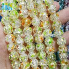 12mm Multicolor Crackle Rock Crystal Quartz Round Loose Beads