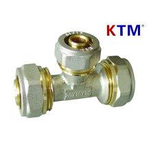 Латунный штуцер трубы - Тройник для трубы PEX-Аль-PEX труб (алюминий пластиковые трубы)