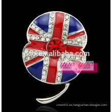 Broche de cristal famosa flor de la bandera