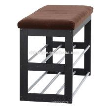 support en bois de haute qualité de chaussures, banc en métal de support de chaussure pour le salon