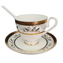 white gold with figure ceramic coffee cup and saucer porcelain coffee tea set / tea pot set