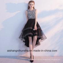 Schwarz High Low Pailletten Perlen mit Strass Abendkleid