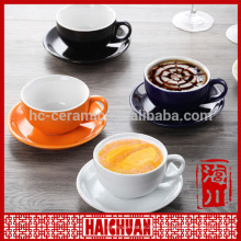 High quality ceramic high cup color blue with saucer