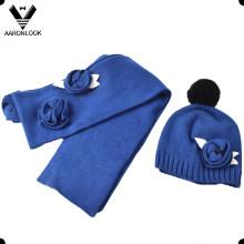 Senhora moda crochet cachecol flor chapéu 2pcs inverno quente set
