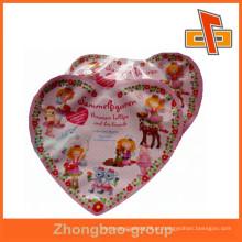 Folha de alumínio em forma de coração sacos de plástico com impressão para doces ou lanches pacote