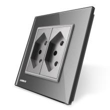 Livolo EU-Norm Schweiz Steckdose mit grauer Kristallglasscheibe VL-C7C2CH-15