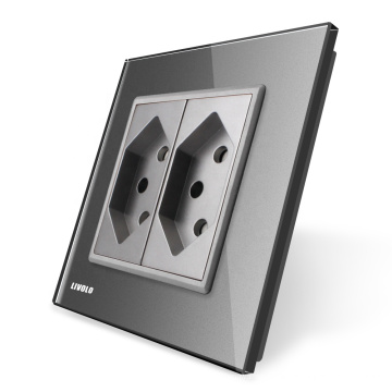 Livolo EU Standard Suisse Prise de courant avec panneau en verre cristal gris VL-C7C2CH-15