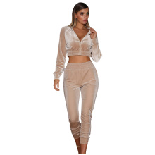 Hot Sale Women 2pcs Plain Color Velvet Tracksuit