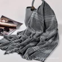 High quality fashion women 100% acrylic winter tassel scarf 205x90cm tartan plaid scarf