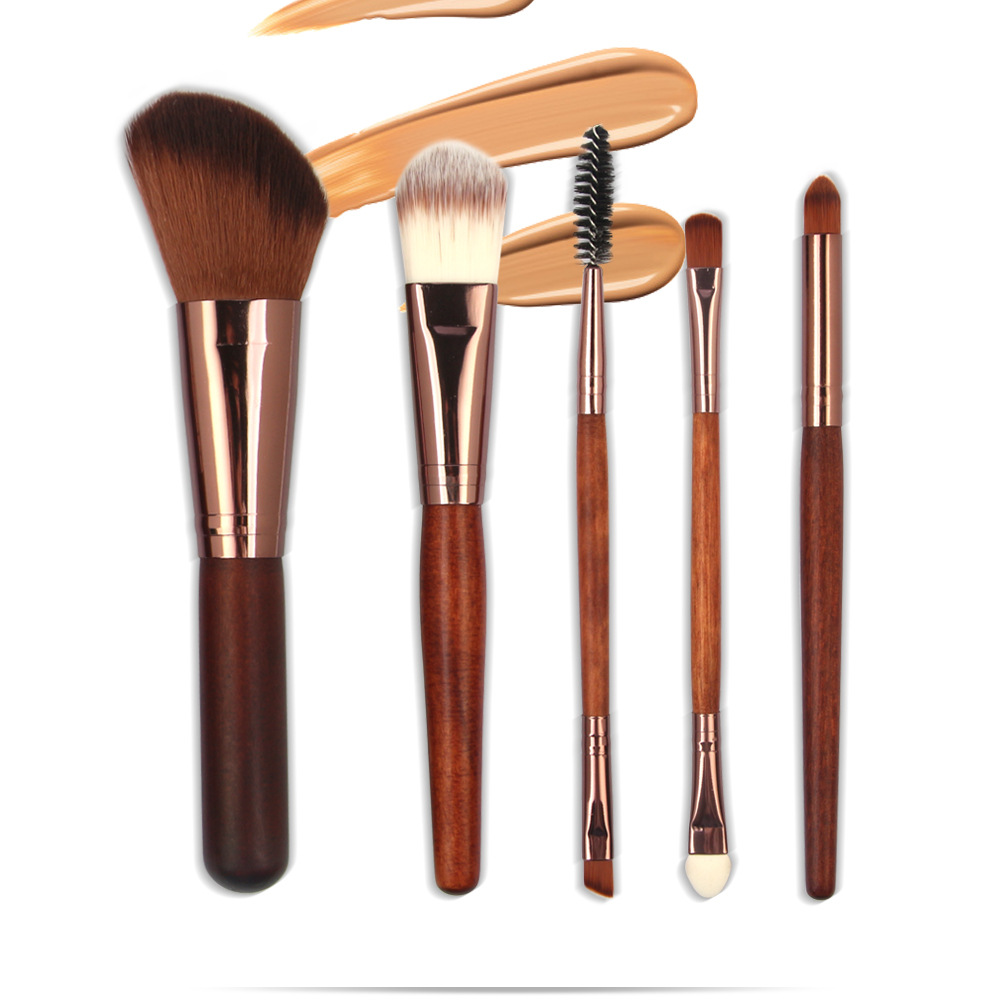 5 Pcs Wood Makeup Brushes Set -1