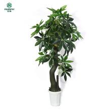 Искусственное дерево - фальшивки плетеный денежное дерево (51-дюйм.) с большими зелеными листьями