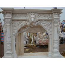 Marble Fireplace for Home Stone Carving (QY-LS388)