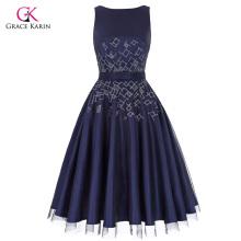 Grace Karin Sleeveless Crew Neck V-Back Tulle Netting+Satin Retro Vintage Flared A-Line Dress CL010468-1
