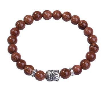 Natural Goldstone 8MM Gemstone Buddhism Prayer Beads Bracelet