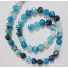Agate bleu perles, pierres précieuses, (BLUGT101)