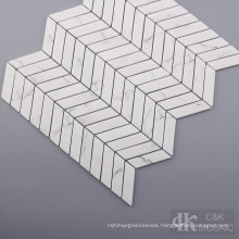 Marble Stone Look Herringbone Glass Mosaic Tile