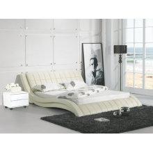 Cama de couro de cor creme, mobília do quarto moderno (9111)