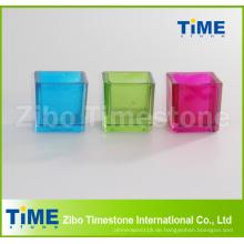 Quadratischer Form-bunter Kerzenhalter aus Glas