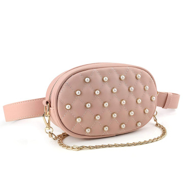 Anpassad Pearl Chain Fanny Pack Purse Belt Bag