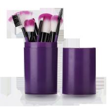 Pinceau de maquillage violet 12 pièces avec corps en plastique