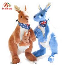 Custom Christmas Yellow Blue Baby Plush Stuffed Kangaroo Toy