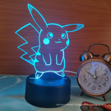 Pokemon Pikachu 3D LED Night Light, 3D Optical Illusion Visual Lamp 7 Colors Touch Table Desk Lamp