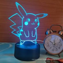 Pokemon Pikachu 3D LED Night Light, 3D Optical Illusion Visual Lamp 7 Colors Touch Table Desk Lamp