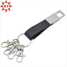 Anneaux de porte-clés en cuir de ceinture de ceinture noire de mode