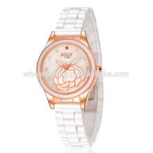 Taobao fino cristal de cerámica blanco delgado reloj de cuarzo de piedra