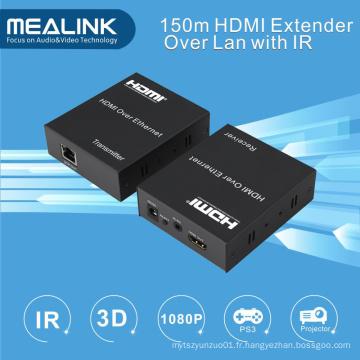 150 m HDMI sur un seul amplificateur CAT5 Cat5 (IR + HDMI sur TCP / IP)
