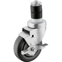 1 1/2 in Expanding Stem Caster with 4 in Wheel & Brake