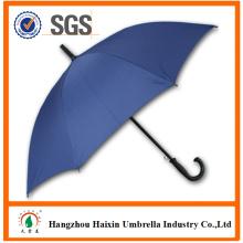Синий цвет большой дешевый пользовательские печати зонтик с пластмассовым крючком ручкой