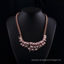 Rose Gold Plated Tschechische Strass Rosa Perlenkette Sets