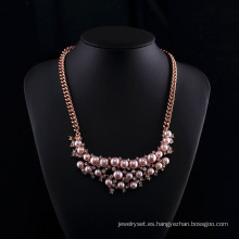 Rose Gold Plated Czech Rhinestone Pink Pearl Necklace Conjuntos