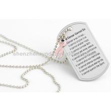 Vente en gros Gravure en acier inoxydable Plaque vierge Pendentif Hommes Tag de chien Pendentifs Colliers Accessoires de bijoux