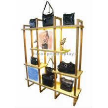 Shopping Mall Ventana Bolsa Stand Display Amarillo Powdered Wood Metal Publicidad Bolso Display Stand