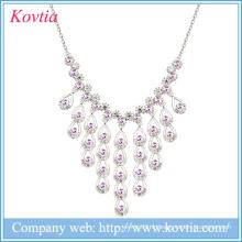 Collier en or blanc collier 18k bijoux en cristal ambre colliers en gomme pour mariage