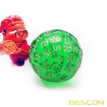 Bescon Translucent Green Polyhedral Dice 100 Sides,  D100 dice, 100 Sided Cube, Transparent D100 Game Dice