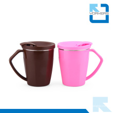 Korean Style 304 Stainless Steel and Plastic Coffee Mug & Ice Cream Cup with Lid