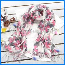 Fashion flower lady linen print scarf