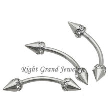 16G Steel Spike Multi-Gem Eyebrow Barbell